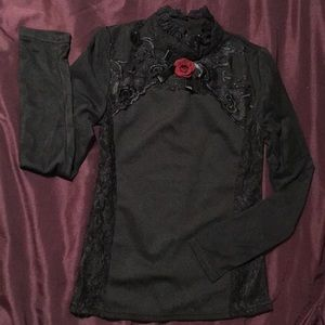 Tops - Gothic Black Long Sleeve Top with Red Rose